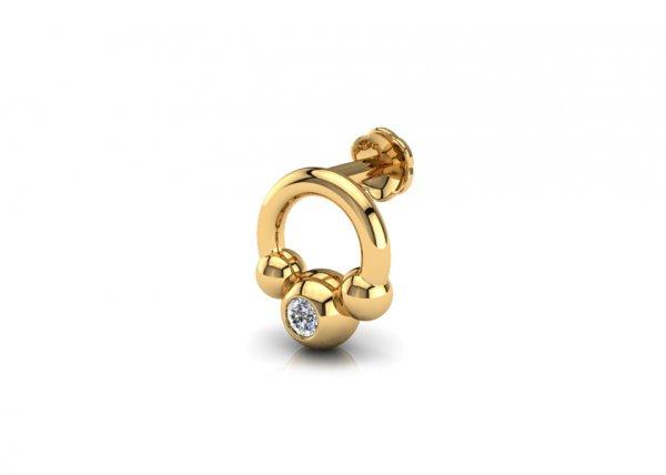 18K Yellow Gold IF-FG Diamond Nosepin 0.011 ct