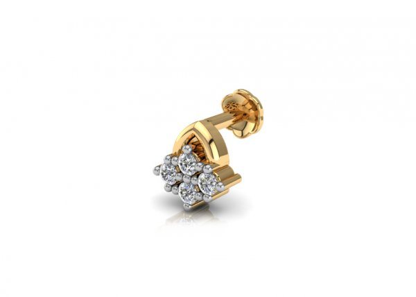 18K Yellow Gold IF-FG Diamond Nosepin 0.028 ct