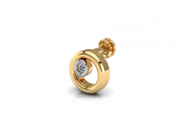 18K Yellow Gold IF-FG Diamond Nosepin 0.007 ct