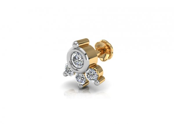 18K Yellow Gold IF-FG Diamond Nosepin 0.079 ct