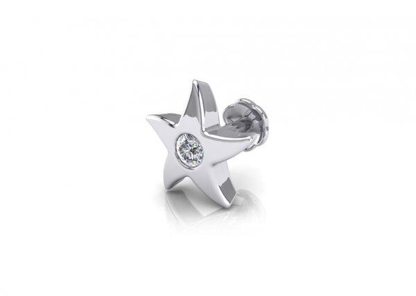 18K White Gold IF-FG Olivia Diamond Nosepin 0.015 Ct