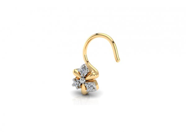 18K Yellow Gold IF-FG Diamond Nosepin 0.018 ct