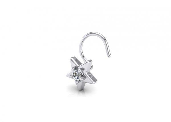 18K White Gold IF-FG Quinn Diamond Nosepin 0.035 ct
