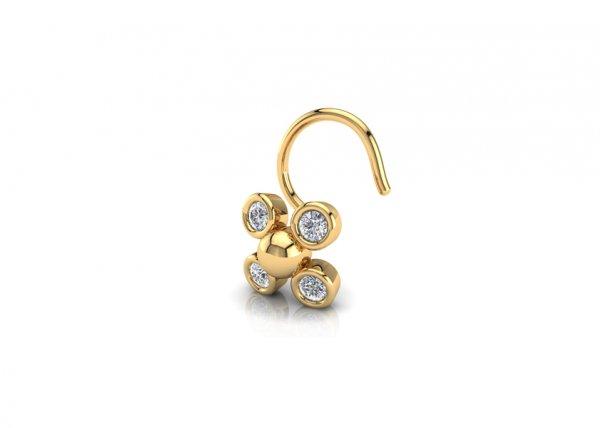 18K Yellow Gold IF-FG Diamond Nosepin 0.06 ct