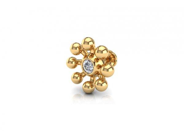 18K Yellow Gold IF-FG Diamond Nosepin 0.025 ct