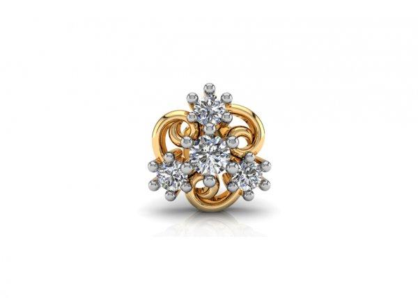 18K Yellow Gold IF-FG Diamond Nosepin 0.036 ct