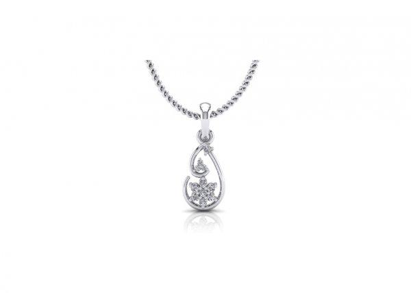 18K White Gold IF-FG Diamond Pendant 0.083 ct