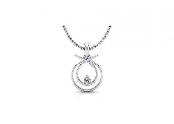 18K White Gold IF-FG Diamond Pendant 0.06 ct