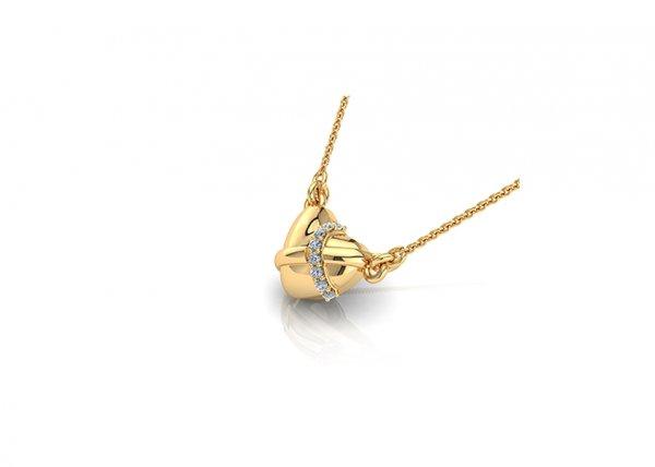 18K Yellow Gold IF-FG Claire Diamond Pendant 0.056 ct