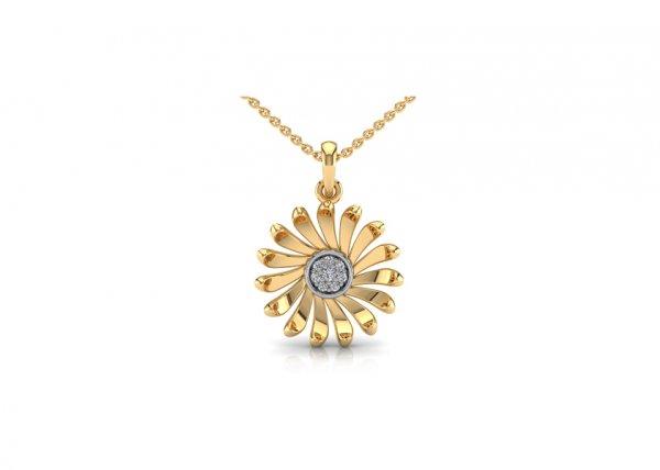18K Yellow Gold IF-FG Diamond Pendant 0.044 ct