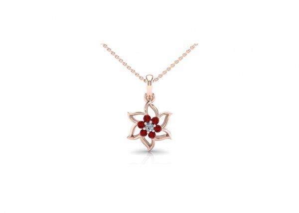 18K Rose Gold IF-FG Diamond Pendant 0.035 ct