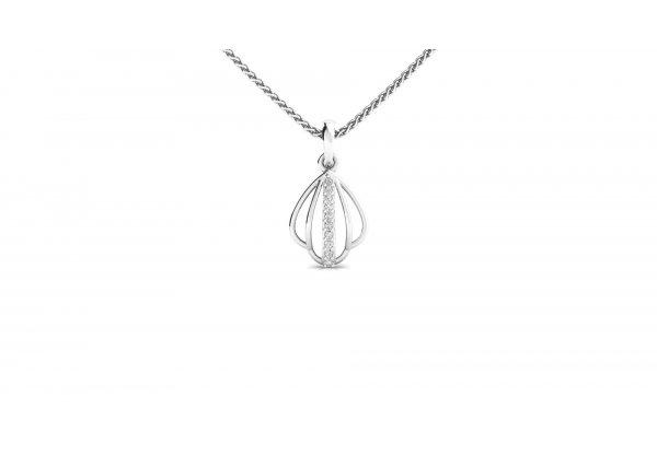 18K White Gold IF-HI Diamond Pendant 0.06 ct-SDPD1751
