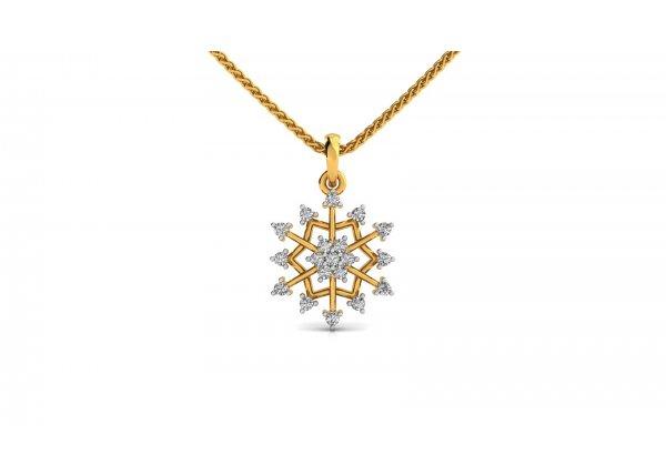 18K Yellow Gold IF-HI Diamond Pendant 0.342 ct-SDPD1876