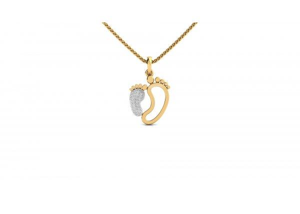 18K Yellow Gold IF-HI Diamond Pendant 0.13 ct-SDPD2128