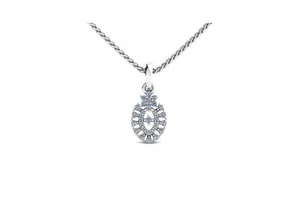 18K White Gold IF-HI Diamond Pendant 0.168 ct-SDPD2219