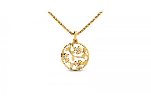 18K Yellow Gold IF-HI Diamond Pendant 0.021 ct-SDPD2275
