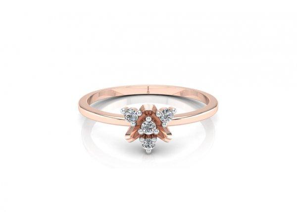 18K Rose Gold IF-FG Diamond Ring 0.044 ct-SDR1207