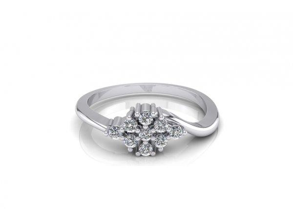 18K White Gold IF-FG Diamond Ring 0.099 ct-SDR1541