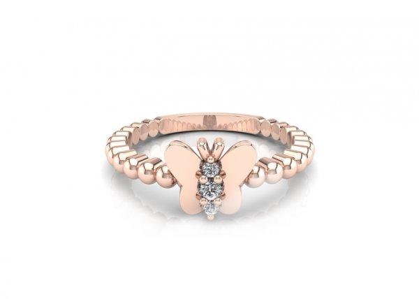 18K Rose Gold IF-FG Diamond Ring 0.02 ct-SDR1597