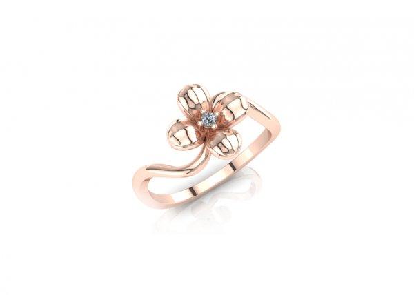 18K Rose Gold IF-FG Diamond Ring 0.015 ct-SDR1623