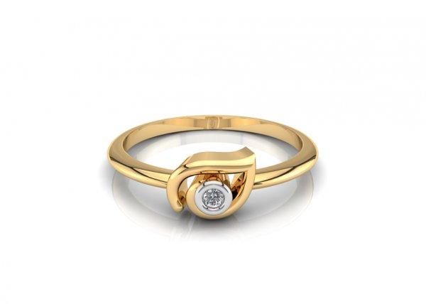 18K Yellow Gold IF-FG Diamond Ring 0.015 ct-SDR1627