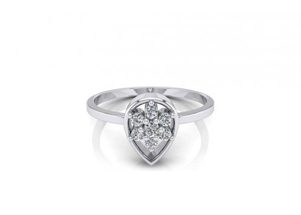 18K White Gold IF-FG Diamond Ring 0.076 ct-SDR1636
