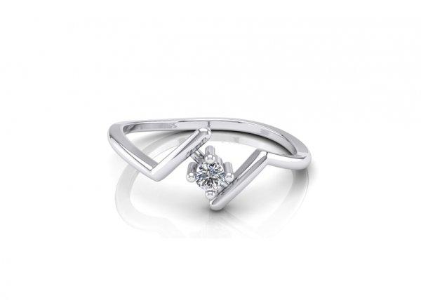 18K White Gold IF-FG Diamond Ring 0.035 ct