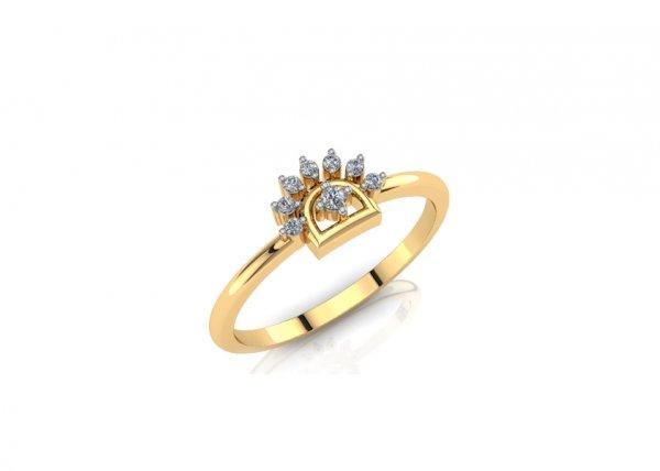 18K Yellow Gold IF-FG Diamond Ring 0.046 ct