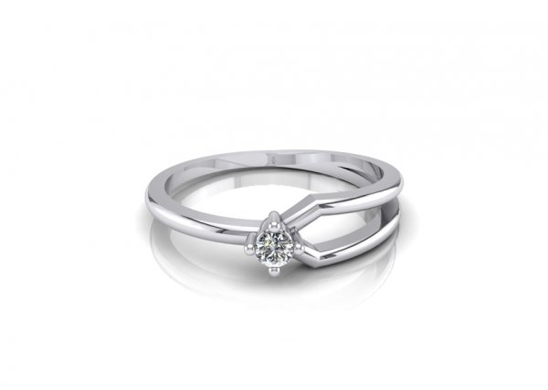 18K White Gold IF-FG Diamond Ring 0.04 ct