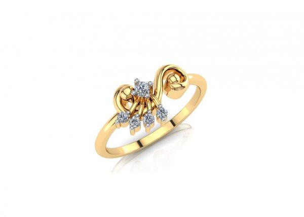 18K Yellow Gold IF-FG Diamond Ring 0.061 ct