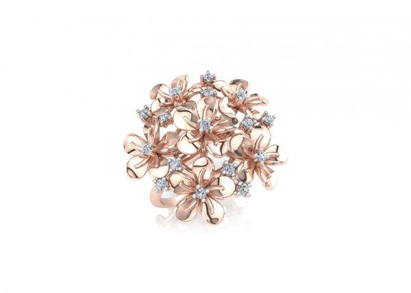18K Rose Gold IF-FG Diamond Ring 0.176 ct-SDR1659