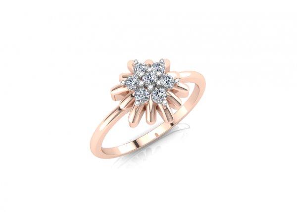 18K Rose Gold IF-FG Diamond Ring 0.14 ct
