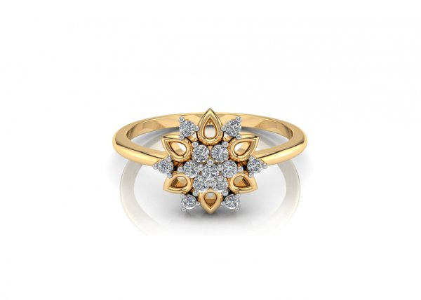 18K Yellow Gold IF-FG Diamond Ring 0.085 ct