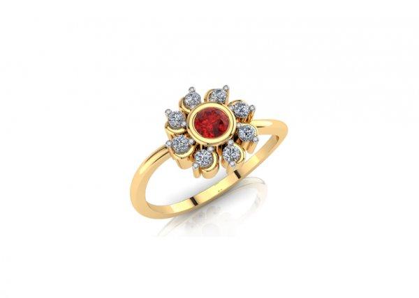 18K Yellow Gold IF-FG Diamond Ring 0.12 ct