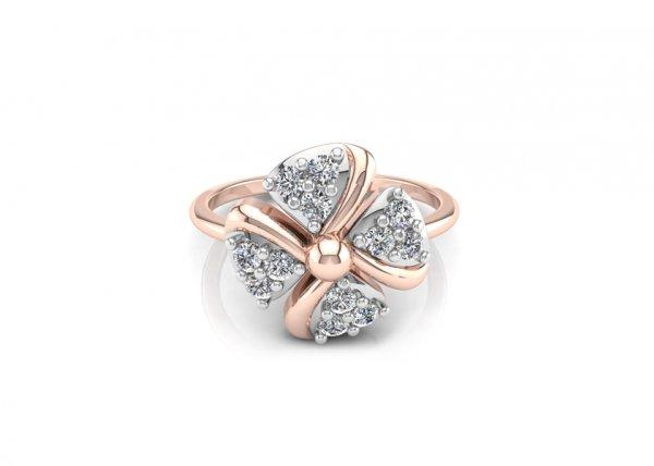 18K Rose Gold IF-FG Diamond Ring 0.216 ct