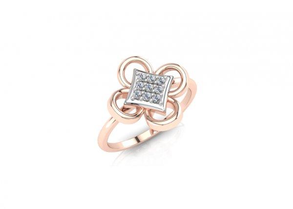 18K Rose Gold IF-FG Diamond Ring 0.063 ct