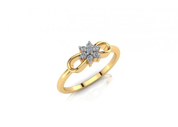 18K Yellow Gold IF-FG Diamond Ring 0.077 ct