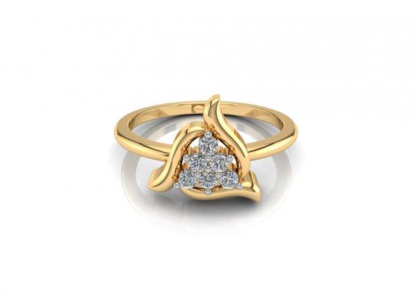 18K Yellow Gold IF-FG Diamond Ring 0.09 ct