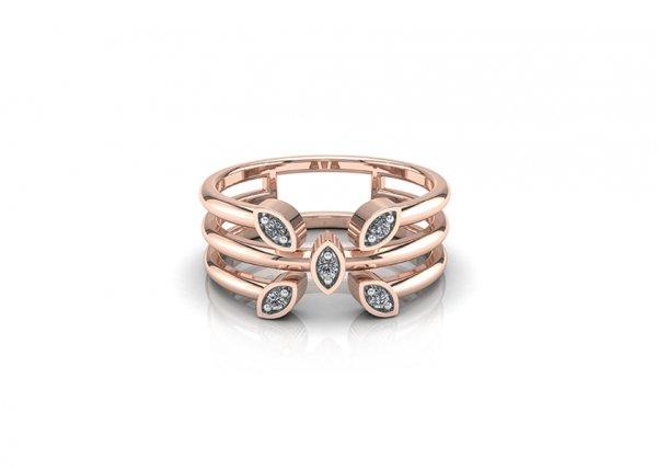 18K Rose Gold IF-FG Diamond Ring 0.045 ct