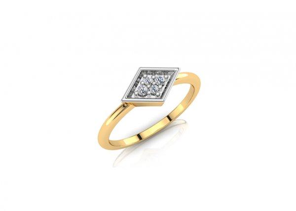 18K Yellow Gold IF-FG Diamond Ring 0.048 ct
