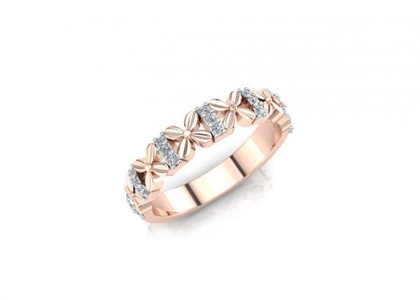18K Rose Gold IF-FG Diamond Ring 0.105 ct-SDR1939