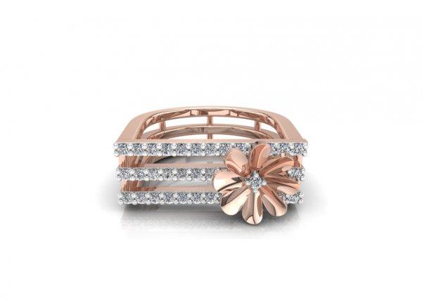 18K Rose Gold IF-FG Diamond Ring 0.306 ct-SDR1940