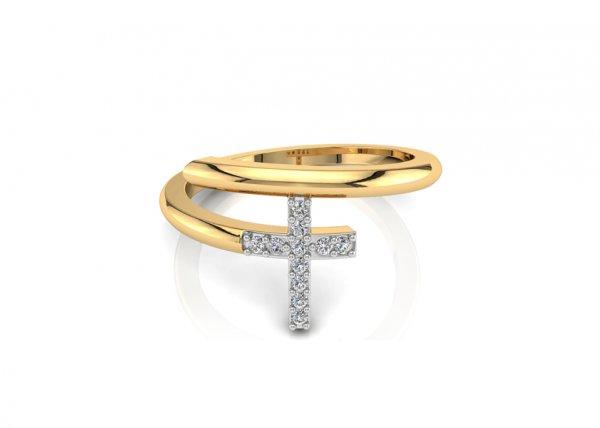 18K Yellow Gold IF-FG Diamond Ring 0.055 ct-SDR1941