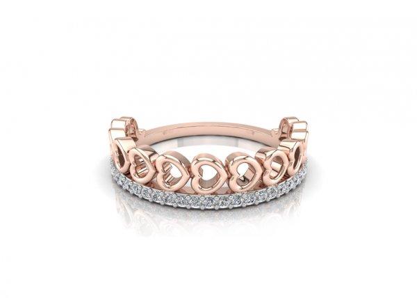18K Rose Gold IF-FG Diamond Ring 0.135 ct-SDR1943