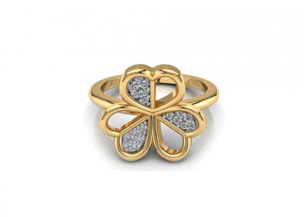 18K Yellow Gold IF-FG Diamond Ring 0.06 ct