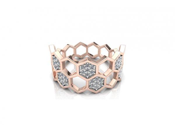 18K Rose Gold IF-FG Diamond Ring 0.21 ct