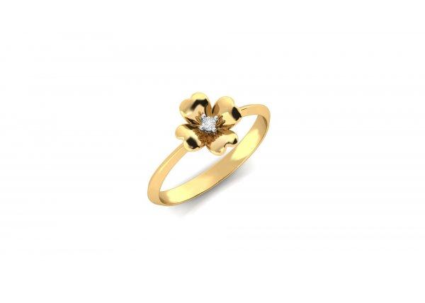 18K Yellow Gold IF-HI Diamond Ring 0.02 ct-SDR1977