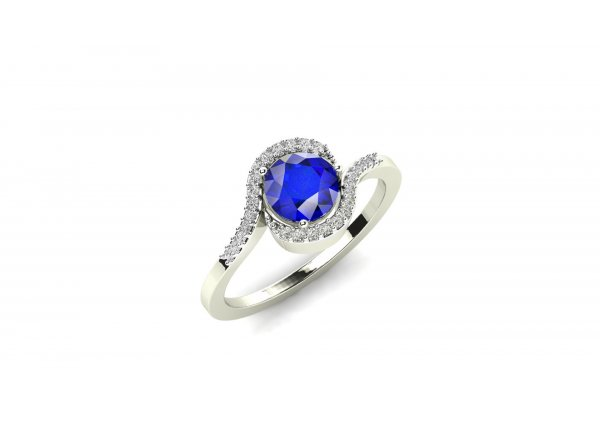 18K White Gold IF-HI Diamond Ring 0.122 ct-SDR1998