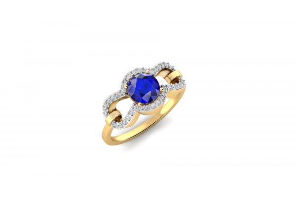 18K Yellow Gold IF-HI Diamond Ring 0.2 ct-SDR2004