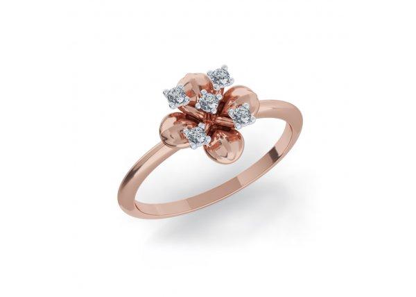 18K Rose Gold IF-HI Diamond Ring 0.075 ct-SDR2084